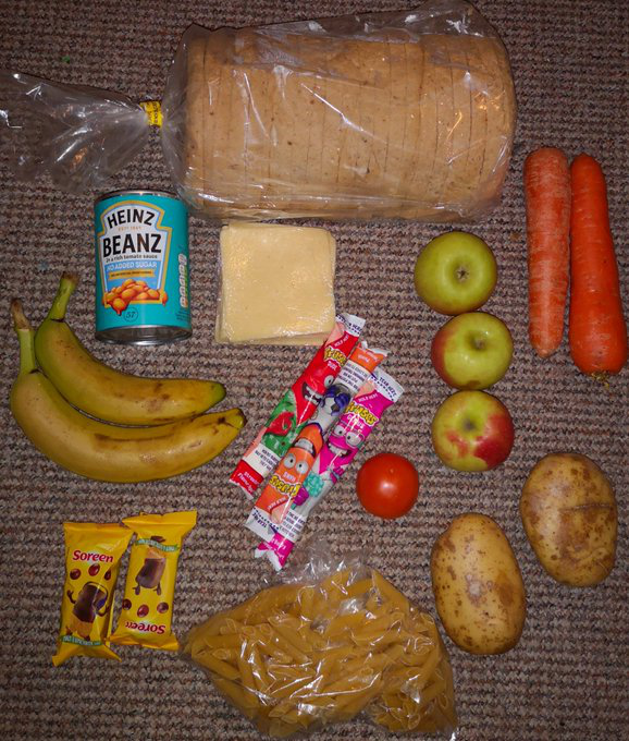 food parcel handed out for Free School Meals, 11Jan2020